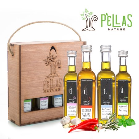 Pellas Nature | International Award Winner | Fresh Organic Infused Olive Oil Set | Finishing Oil | Basil | Garlic | Rosemary | Red Pepper | Wooden Gift Set | Single Origin Greek | 4 X 1.7oz Bottles ()