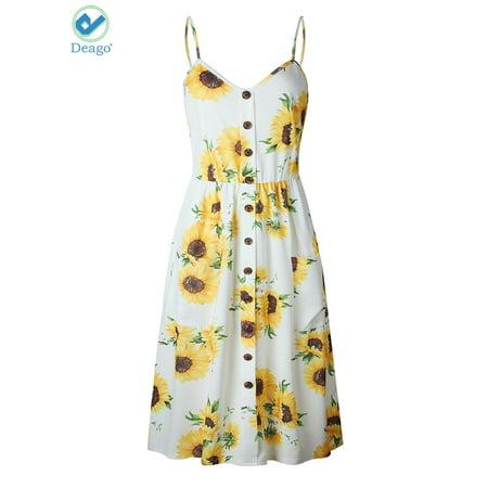 Deago Women's Dresses-Summer Floral Bohemian Spaghetti Strap Button Down Swing Midi Dress with (Floral Spaghetti)