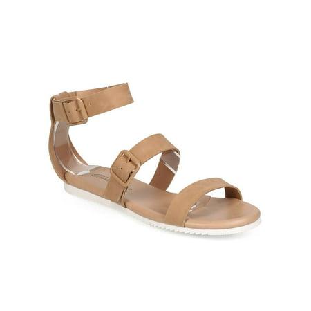 New Ladies Pretty Black Sandals - New Women Breckelles Joy-35 Leatherette Open Toe Buckle Minimal Gladiator Sandal