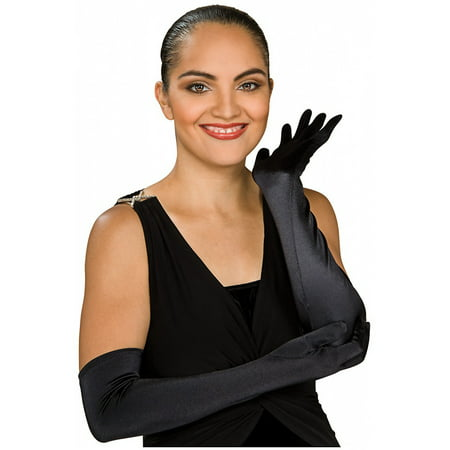 Stretch Satin Opera Length Gloves Adult Costume Accessory Black