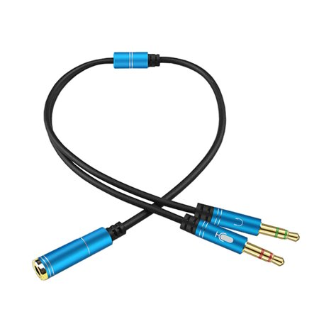 AUX 3 5mm Audio Mic Splitter Cable Female to 2 Male
