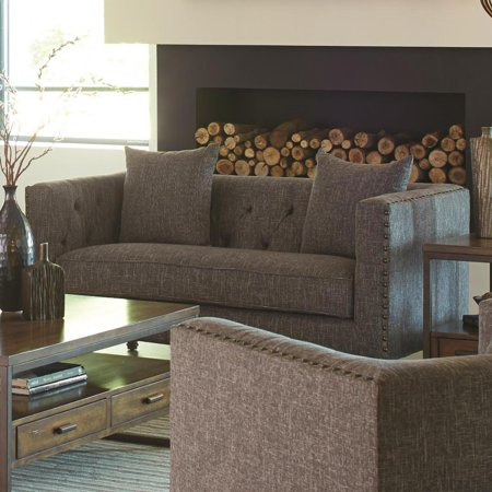 Transitional Linen Like Fabric & Wood Loveseat With Tufted Seat, Weathered Gray ()