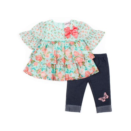 Floral Twin Print Top and Capri Legging, 2-Piece Outfit Set (Little Girls)