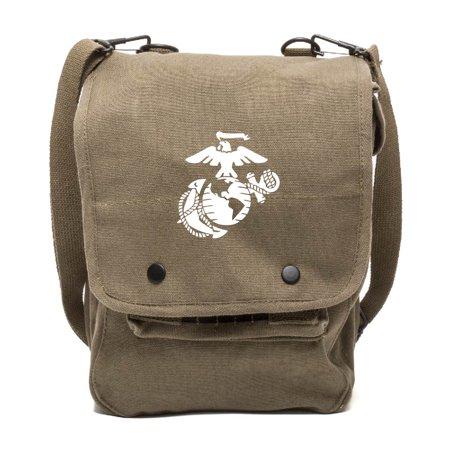 U.S. Marine Corps Semper Fidelis Canvas Crossbody Travel Map Bag