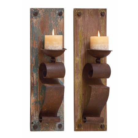 Pine Iron Base - Pine Canopy Rustic Brown Wood and Iron 19-inch Candle Sconces (Set of 2)