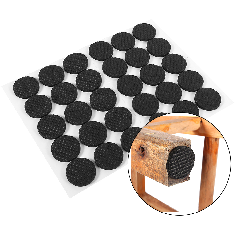 30Pcs TRP Rubber Black Non Slip Self Adhesive Floor Protectors Furniture  Sofa Table Chair Rubber