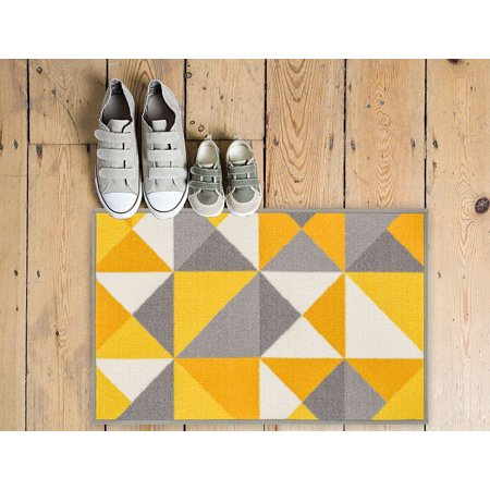 Stretch Modern Washable - Non-Skid/Slip Rubber Back Antibacterial 20x31 (20'' x 31'') Lex Casual Yellow Gold & Grey Geometric Modern Thin Low Pile Machine Washable Indoor Outdoor Kitchen Hallway Entry