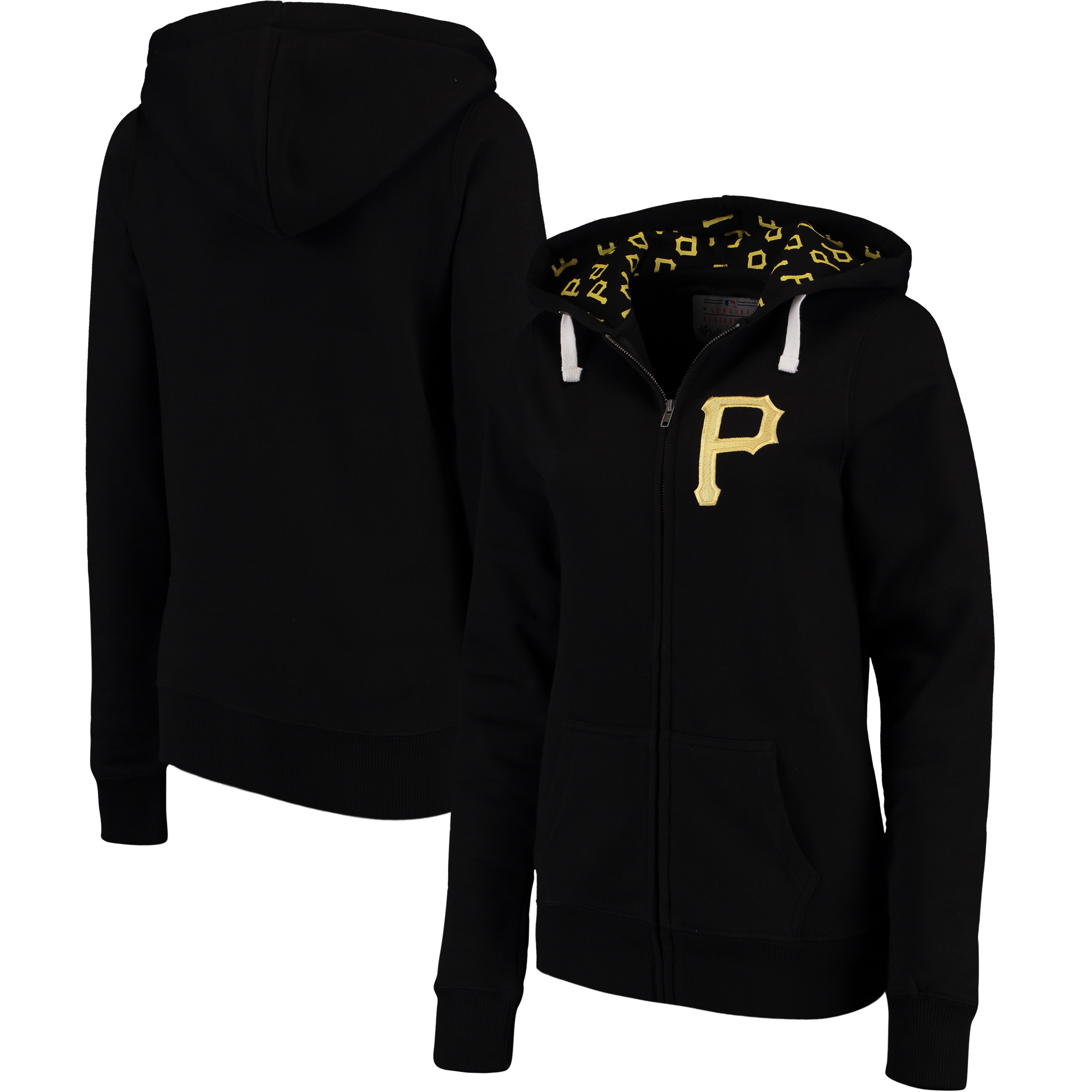 Pittsburgh Pirates Soft as a Grape Women's Line Drive Full-Zip Hoodie - Black