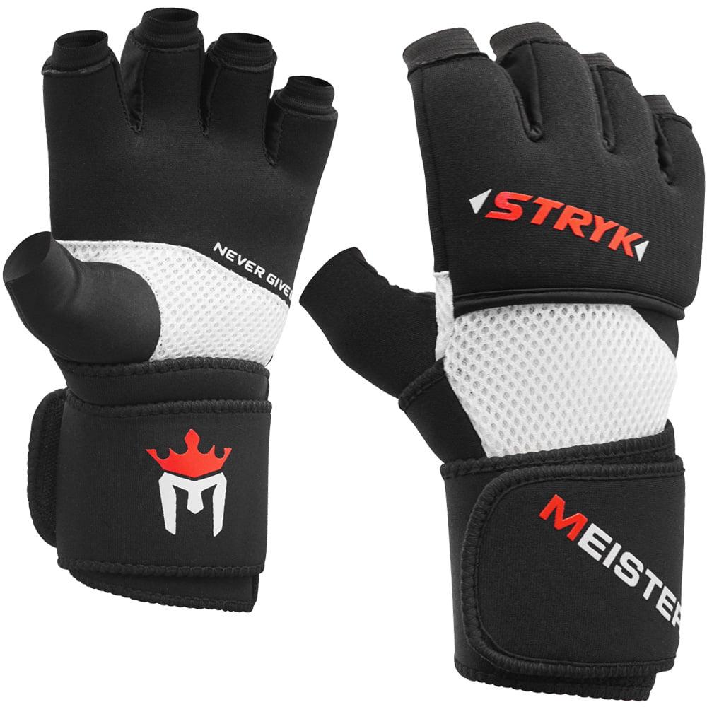 Meister Inner Stryk Gloves w/ EliteGel for Boxing & MMA - Replace Hand Wraps or Striking Training - Black - Medium/Large