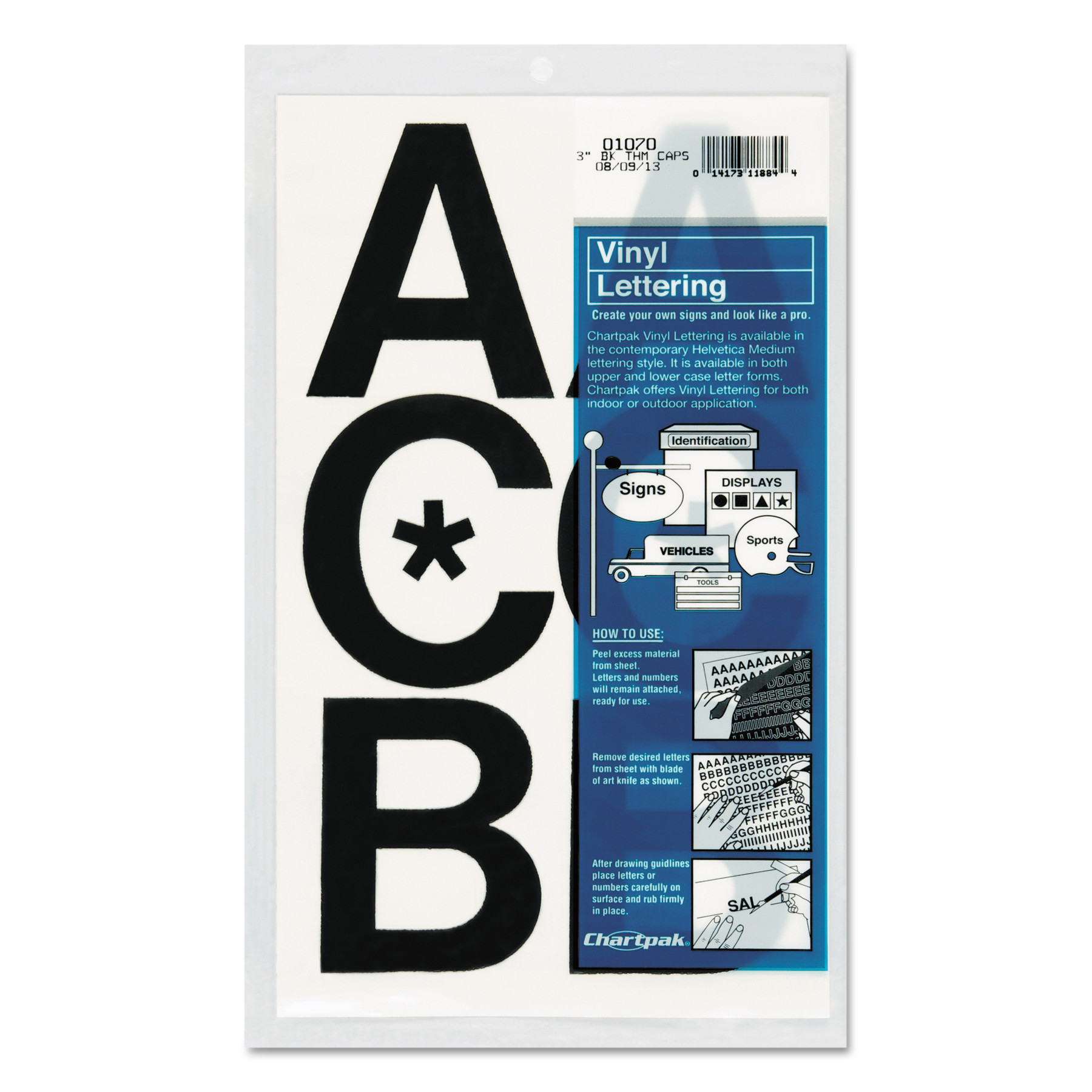 "Chartpak Press-On Vinyl Uppercase Letters, Self Adhesive, Black, 3""h, 50/Pack"