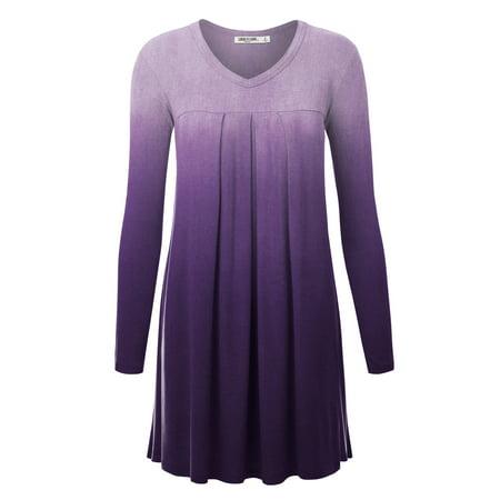 MBJ WT1168 Womens V-Neck Long Sleeve Ombre Pleats Tunic Dress Top S PURPLE
