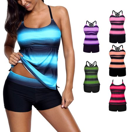 Women's Halter Swimsuits Color Block Print Tankini Two Piece Swimwear Set