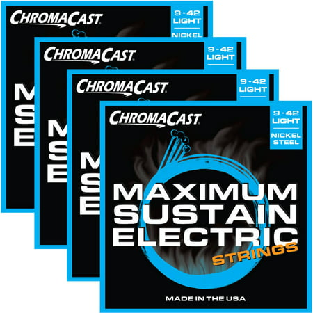 ChromaCast Maximum Sustain Light Gauge(.009-.042) Electric Guitar Strings, 4 Pack