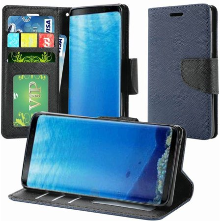 Blue Pouch (insten Stand Book-Style Leather [Card Slot] Wallet Flap Pouch Case Cover For Samsung Galaxy S8, Dark Blue )