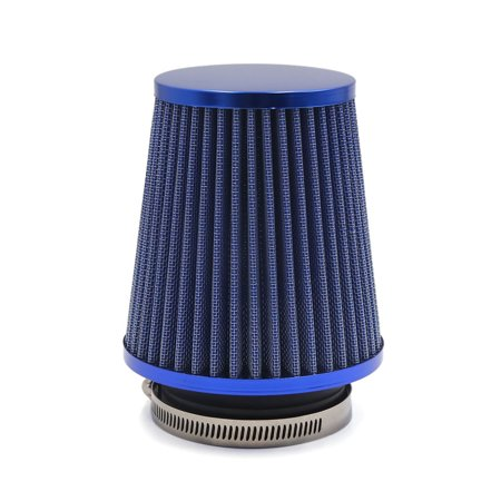 Blue 76mm Inlet Inner Diameter Air Filter Cleaner w Worm Clamp for Car Vehicle