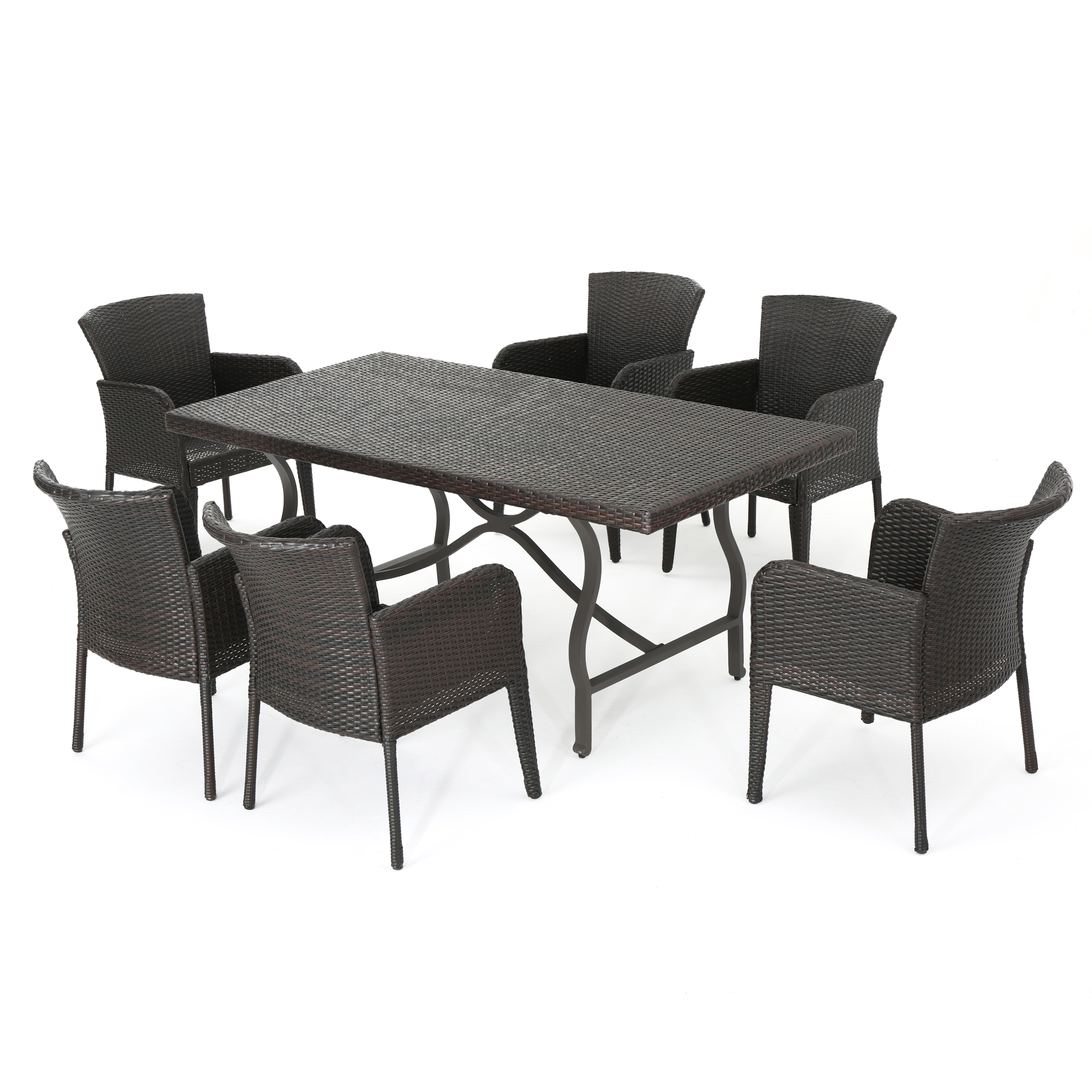 Cozumel Outdoor 7-piece Dining Set, Multibrown