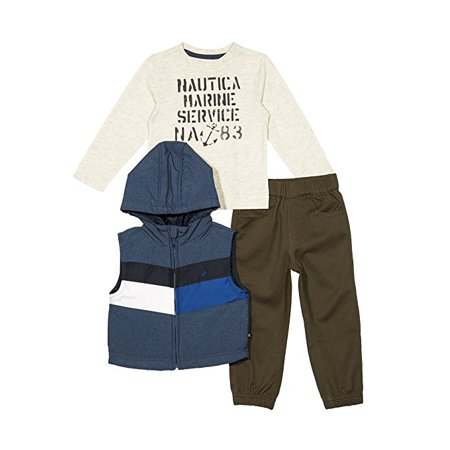 Nautica Baby Boys' Puffer Vest, Tee and Jogger Three Piece Set