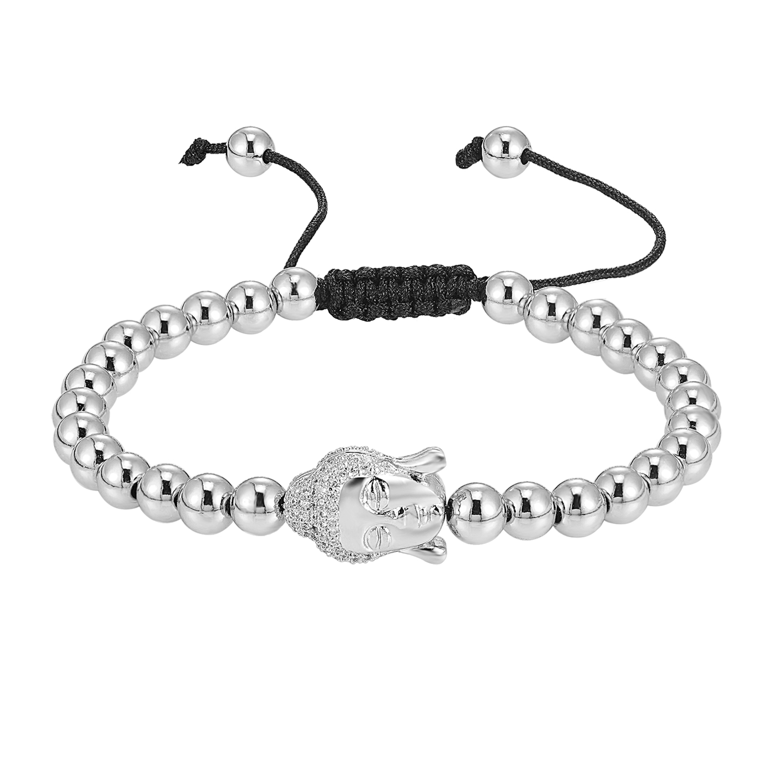 Silver Tone Bead Ball Link Bracelets Buddha Design Simulated Diamonds Men Womens
