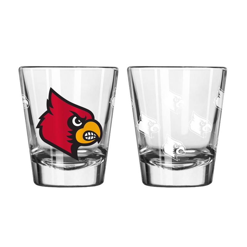 Boelter Brands Louisville Cardinals Shot Glass 2 Pack Satin Etch by Boelter Brands