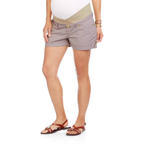 Maternity Underbelly Stretch Poplin Cuffed Shorts Available in Plus Sizes by I.E. Industries Fashsions, Inc