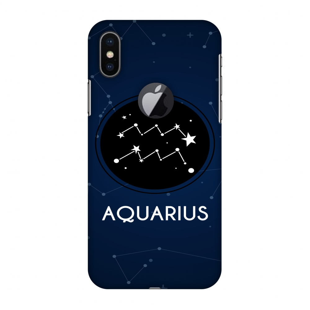 iPhone X Case, Premium Handcrafted Designer Hard Shell Snap On Case Printed Back Cover with Screen Cleaning Kit for iPhone X, Slim, Protective - Stars Aquarius