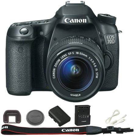 canon black eos 70d 20 2 mp digital slr camera kit. Black Bedroom Furniture Sets. Home Design Ideas