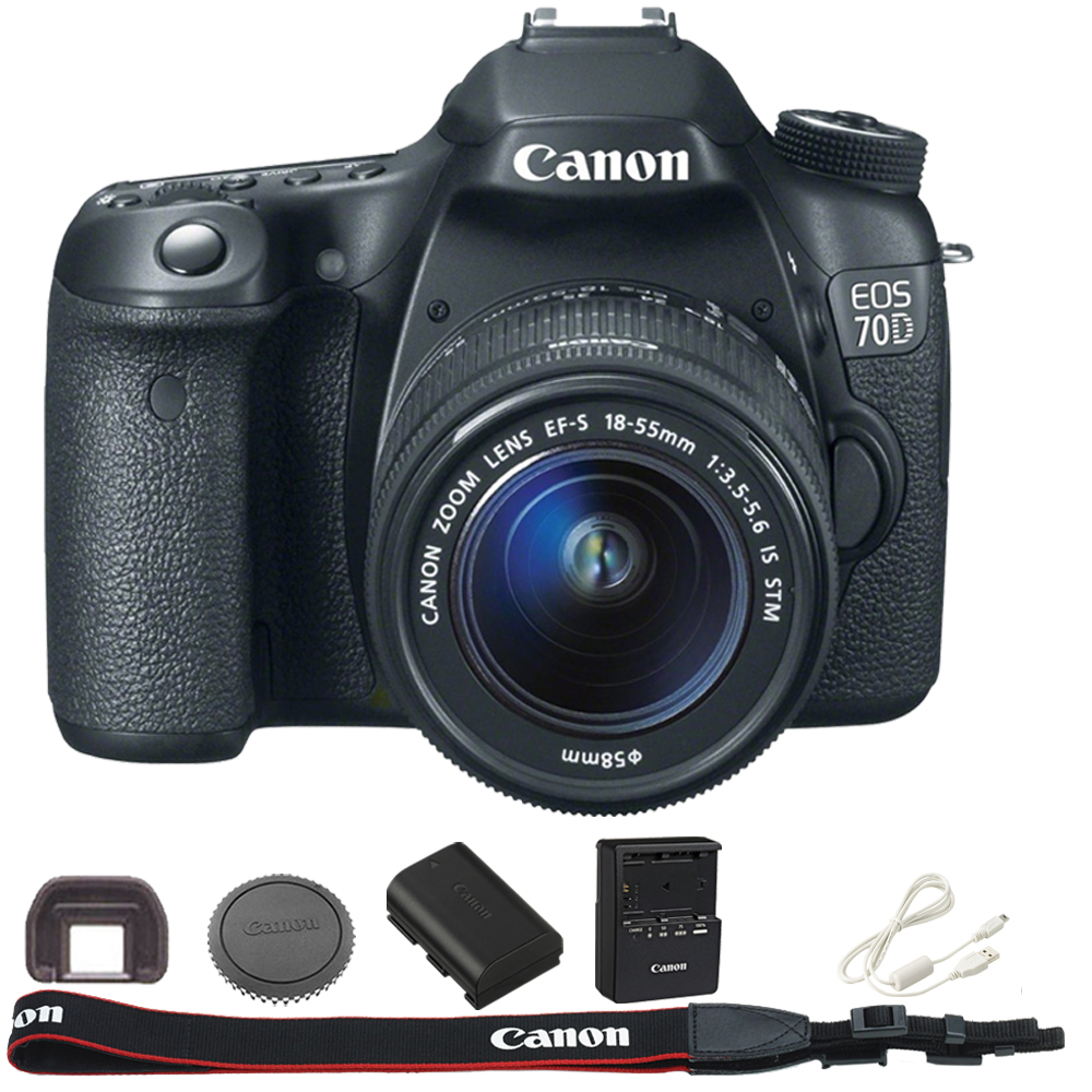 Canon Black EOS 70D 20.2 MP Digital SLR Camera Kit, Includes 18-55mm Lens