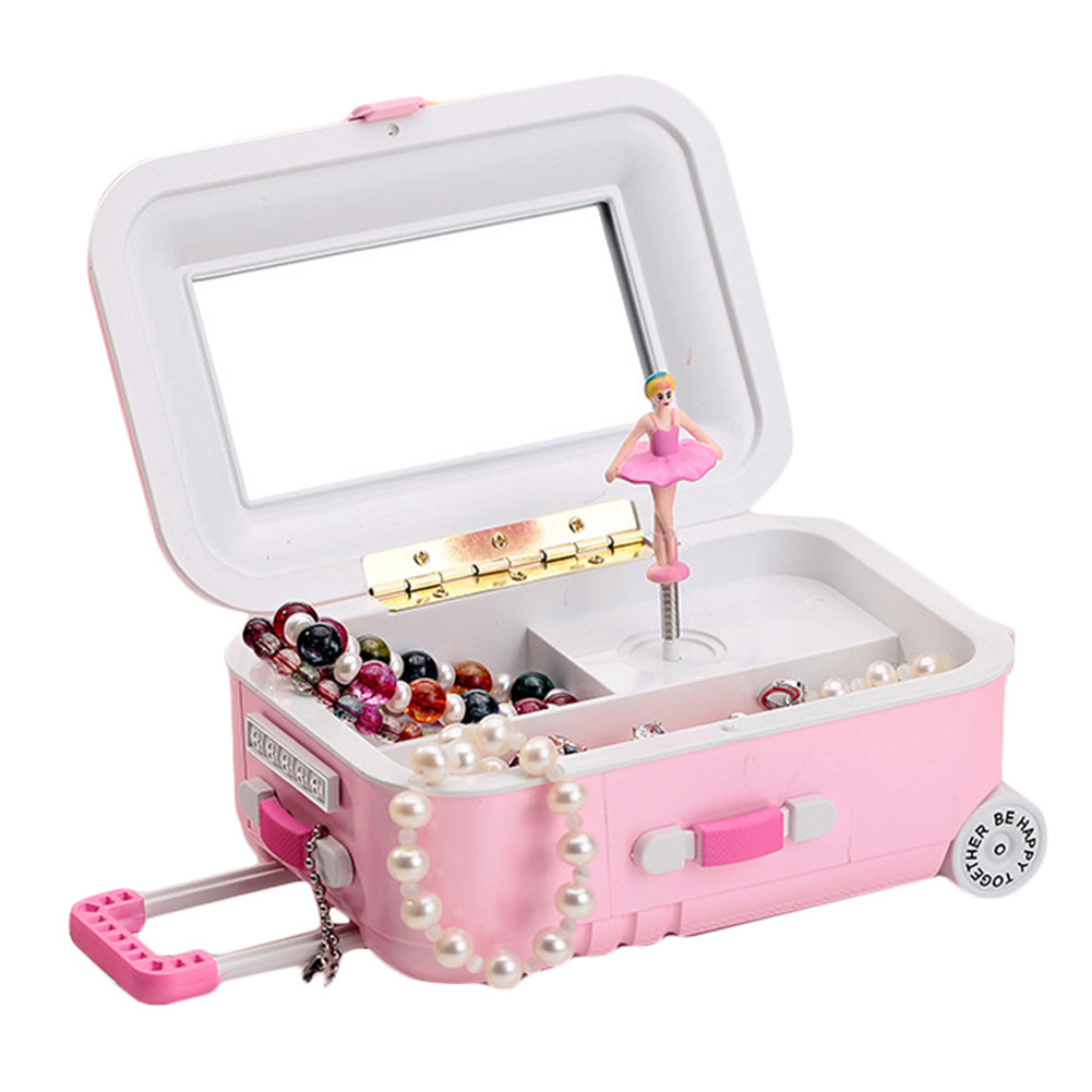 Draw-Bar Suitcase Music Box Girl's Musical Jewelry Storage Box With Spinning Dancing Little Cartoon Girl Birthday... by