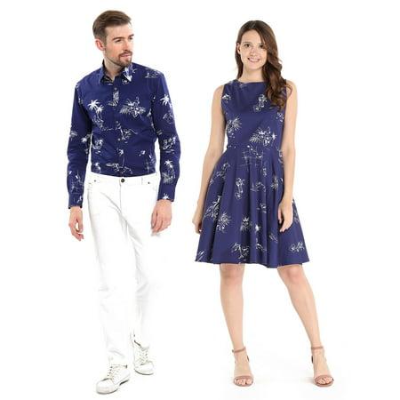 Couple Matching Hawaiian Luau Cruise Outfit Shirt Vintage Dress Classic Navy Men M Women