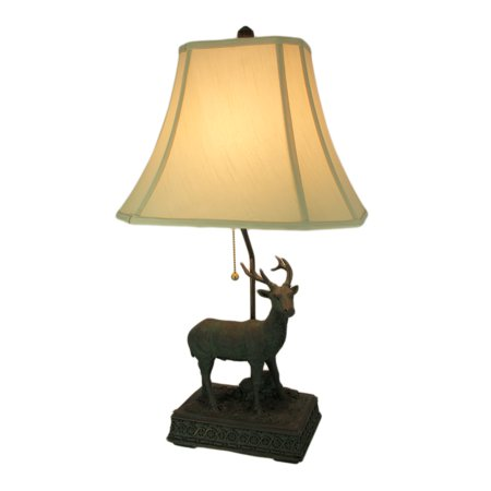 Verdigris Patina Standing Deer Rustic Table Lamp with Shade