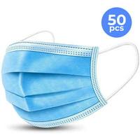 HoMedics 50 Pack Disposable Face Masks, 3-ply Elastic Ear Loop Filter Mask