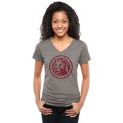 Charleston Cougars Women's Auxiliary Logo Tri-Blend V-Neck T-Shirt - Ash