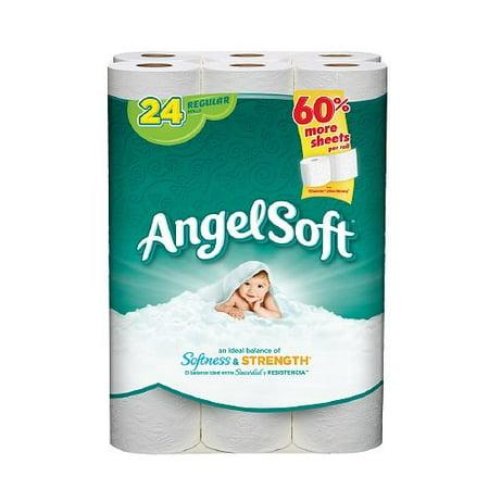 Angel Soft Toilet Paper 24 Regular Rolls Bath Tissue