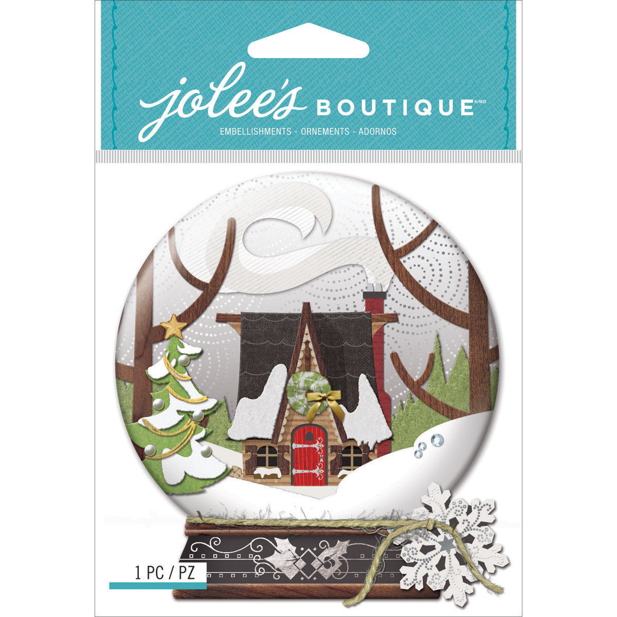 Jolees Boutique Dimensional Stickers, Snow Globe Scene Multi-Colored