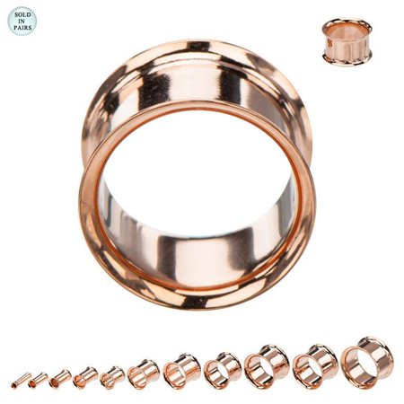 Double Flare Hollow Tunnels (Flesh Tunnels Rose Gold Over Surgical Steel Screw Double Flare )