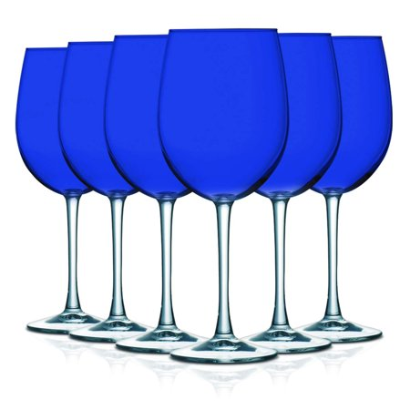 Blue Wine Glasses (Cobalt Blue Top Accent 16 oz Cachet Wine Glasses - Set of 6 by TableTop King - Additional Vibrant Colors)
