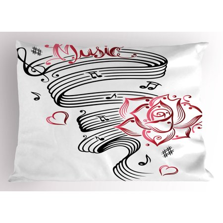 Tattoo Pillow Sham Language of Love Musical Note Inspiration on Music Sheet with Rose Hearts, Decorative Standard Size Printed Pillowcase, 26 X 20 Inches, White Black and Pink, by Ambesonne