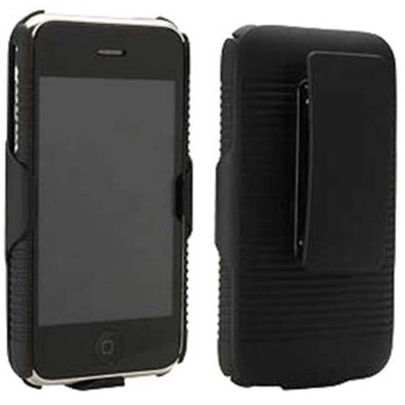 Iphone 3g Holster - NEW BLACK RUBBERIZED HARD CASE + BELT CLIP HOLSTER STAND FOR APPLE iPHONE 3G 3GS