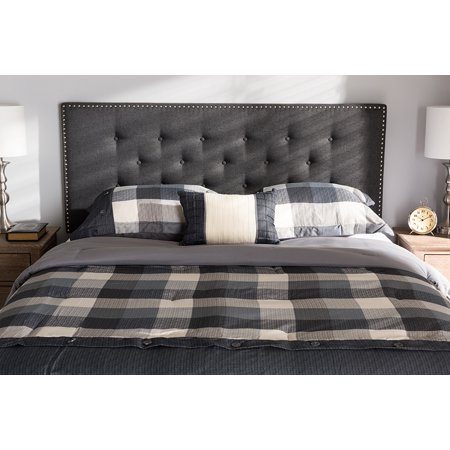 Baxton Studio Windsor Modern and Contemporary Dark Grey Fabric King Size Headboard