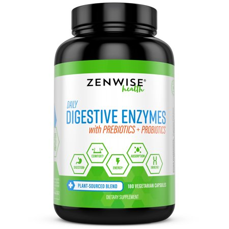 Foods Natural Enzymes - Zenwise Health Digestive Enzymes with Prebiotics & Probiotics, 180 Ct