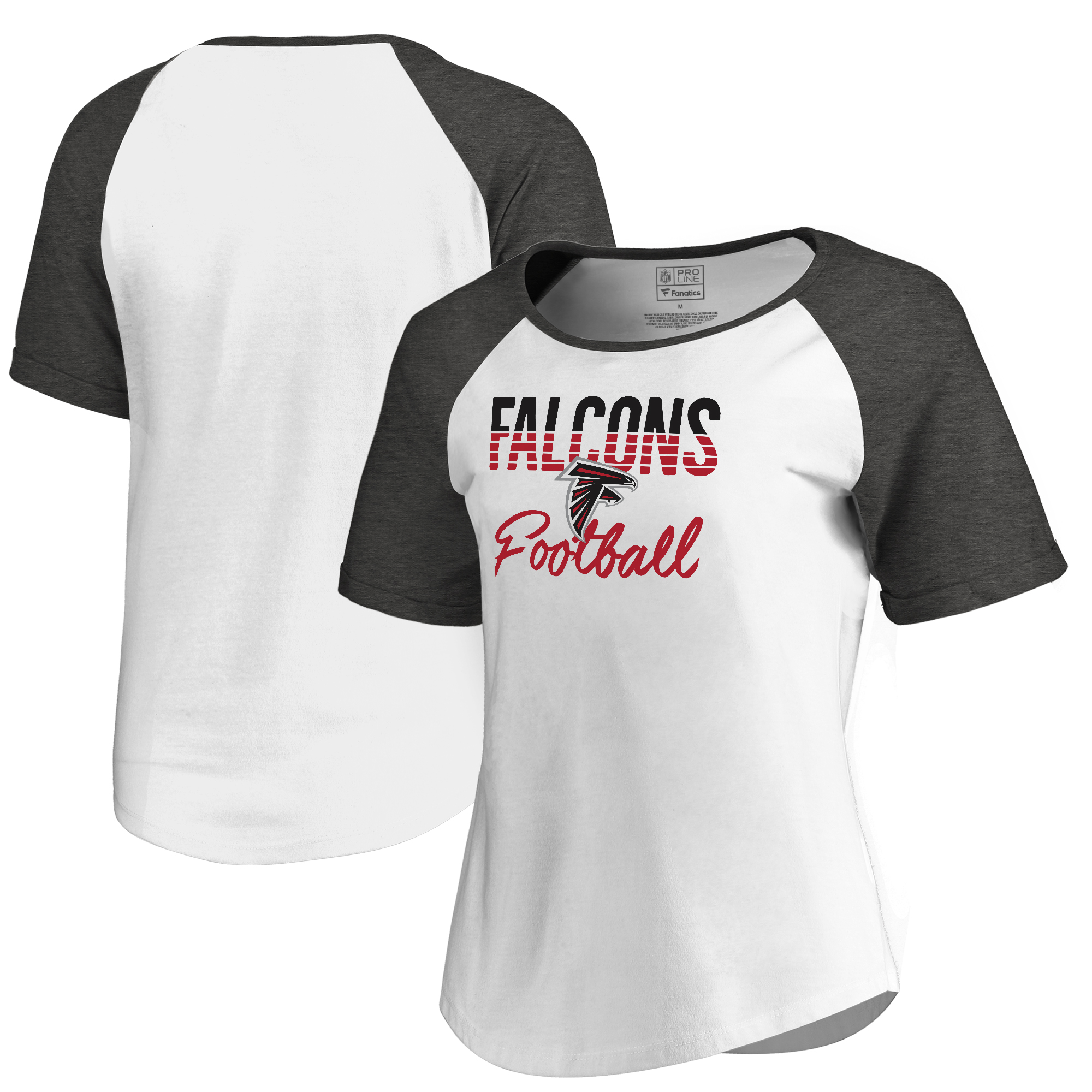 Atlanta Falcons NFL Pro Line by Fanatics Branded Women's Free Line Raglan Tri-Blend T-Shirt - White