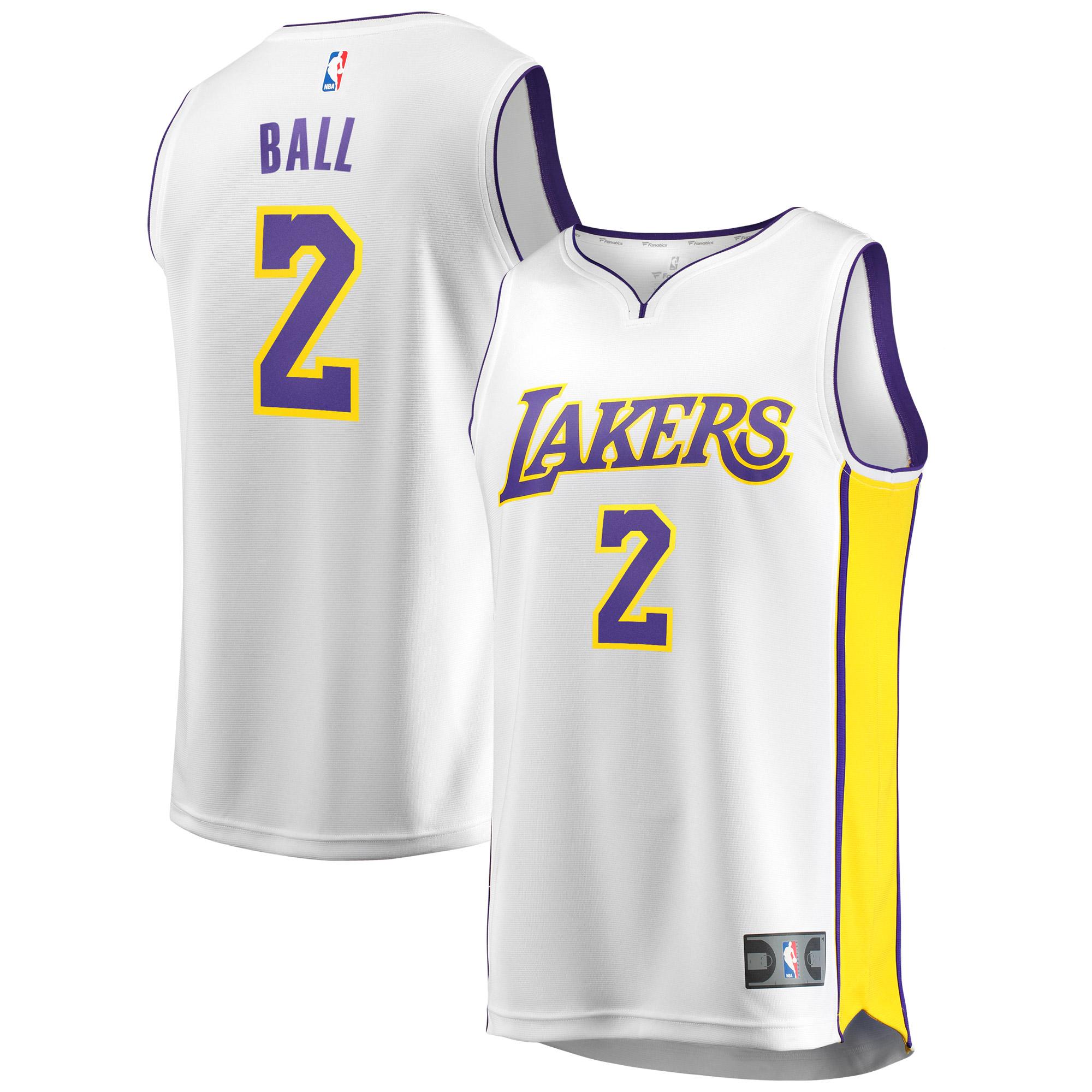 Lonzo Ball Los Angeles Lakers Fanatics Branded Youth Fast Break Replica Jersey White - Association Edition