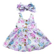 Toddler Baby Kid Girls Sleeveless Floral Button Down Dress With Headband Summer Outfits