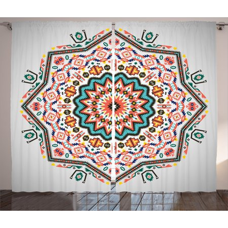 Tribal Curtains 2 Panels Set, Abstract Aztec Style Kaleidoscope Themed Boho Ethnic Sun Pattern Art Print, Window Drapes for Living Room Bedroom, 108W X 108L Inches, Coral Turquoise, by Ambesonne