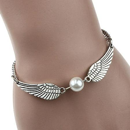 Bracelets,UPLOTER Silver Infinity Retro Pearl Angel Wings Jewelry Dove Peace -