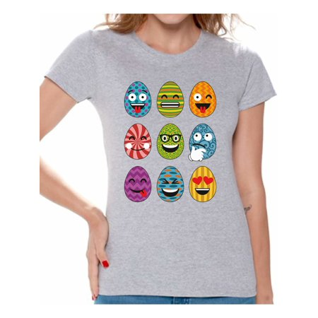 Awkward Styles Easter Eggs Emoji Tshirt Easter T Shirt Women Easter Shirts Funny Easter Gifts for Her Easter Egg Hunt Tshirt Easter Outfit Easter Holiday Tshirt Easter Egg Shirt Easter Party Shirts - Holiday Outfits For Women Ideas