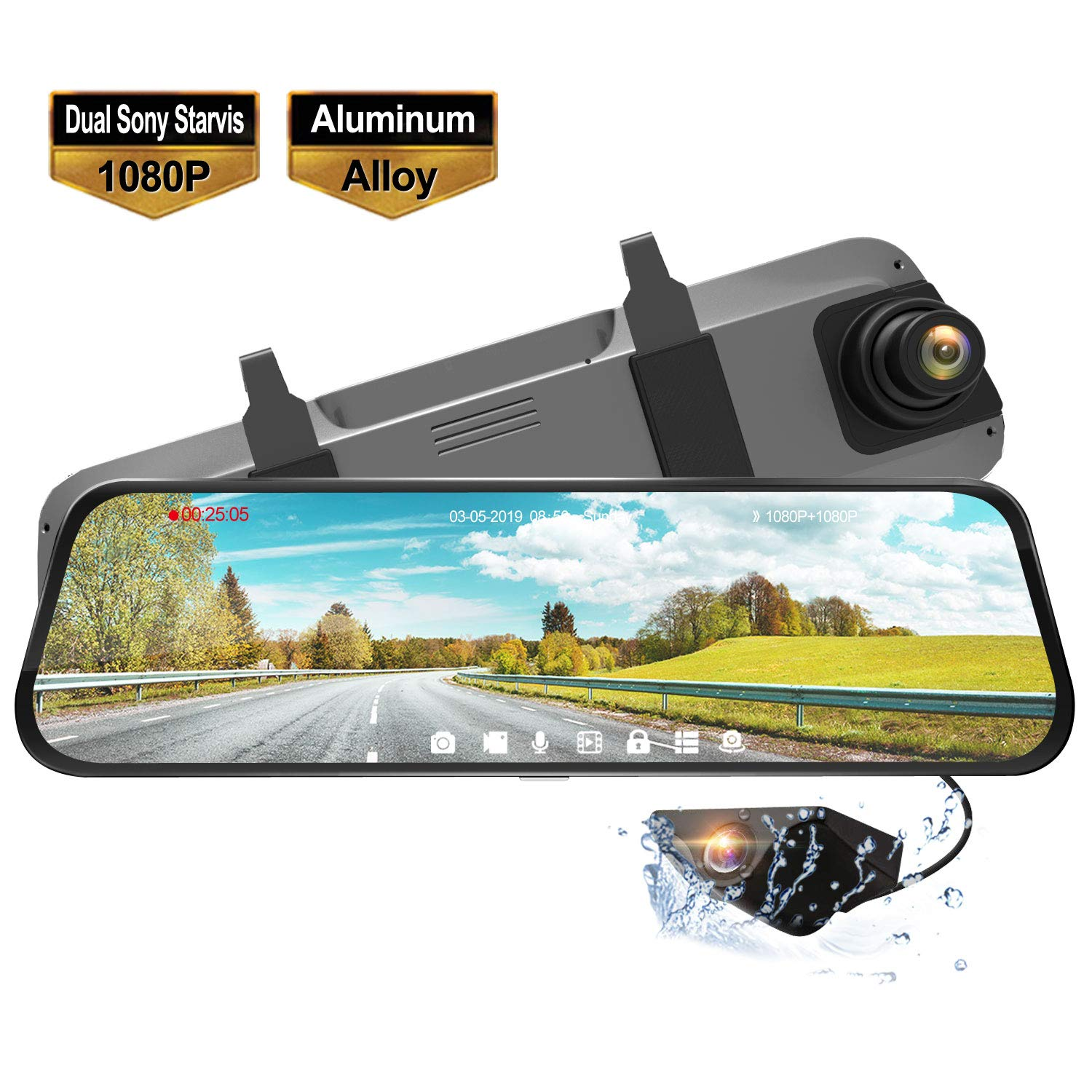 Reversing Assistance Camera Mirror Dash Cam for Cars Waterproof Backup Camera Rear View Full Touch Screen Mirror Camera Enhanced Night Vision with Sony Starvis Sensor