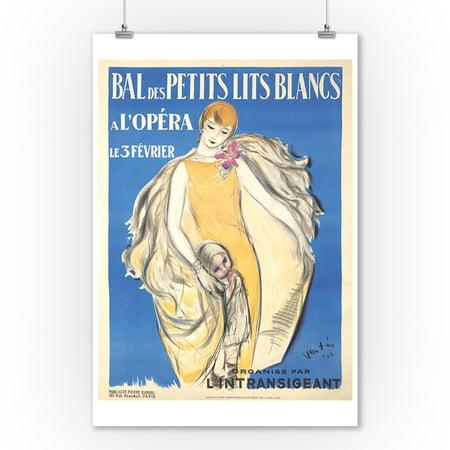 Bal des Petits Lits Blancs Vintage Poster (artist: Vertes, Marcel) France c. 1924 (9x12 Art Print, Wall Decor Travel Poster)