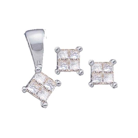 14K White Gold 0.25ctw Pendant Set & Invisible Princess Diamond Ladies Earring