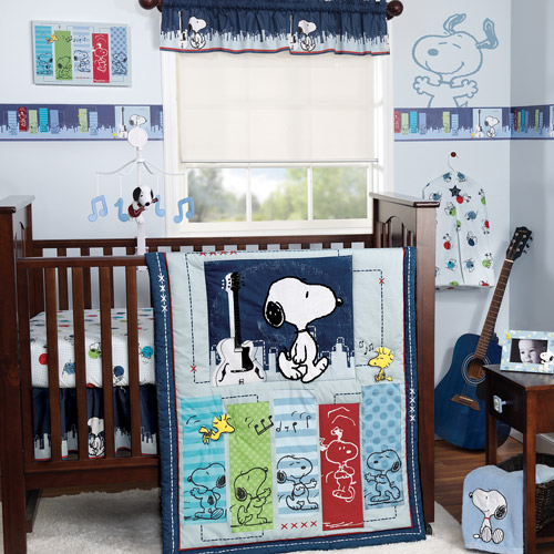 Bedtime Originals by Lambs & Ivy - Hip Hop Snoopy 3-Piece Crib Bedding Set, Blue